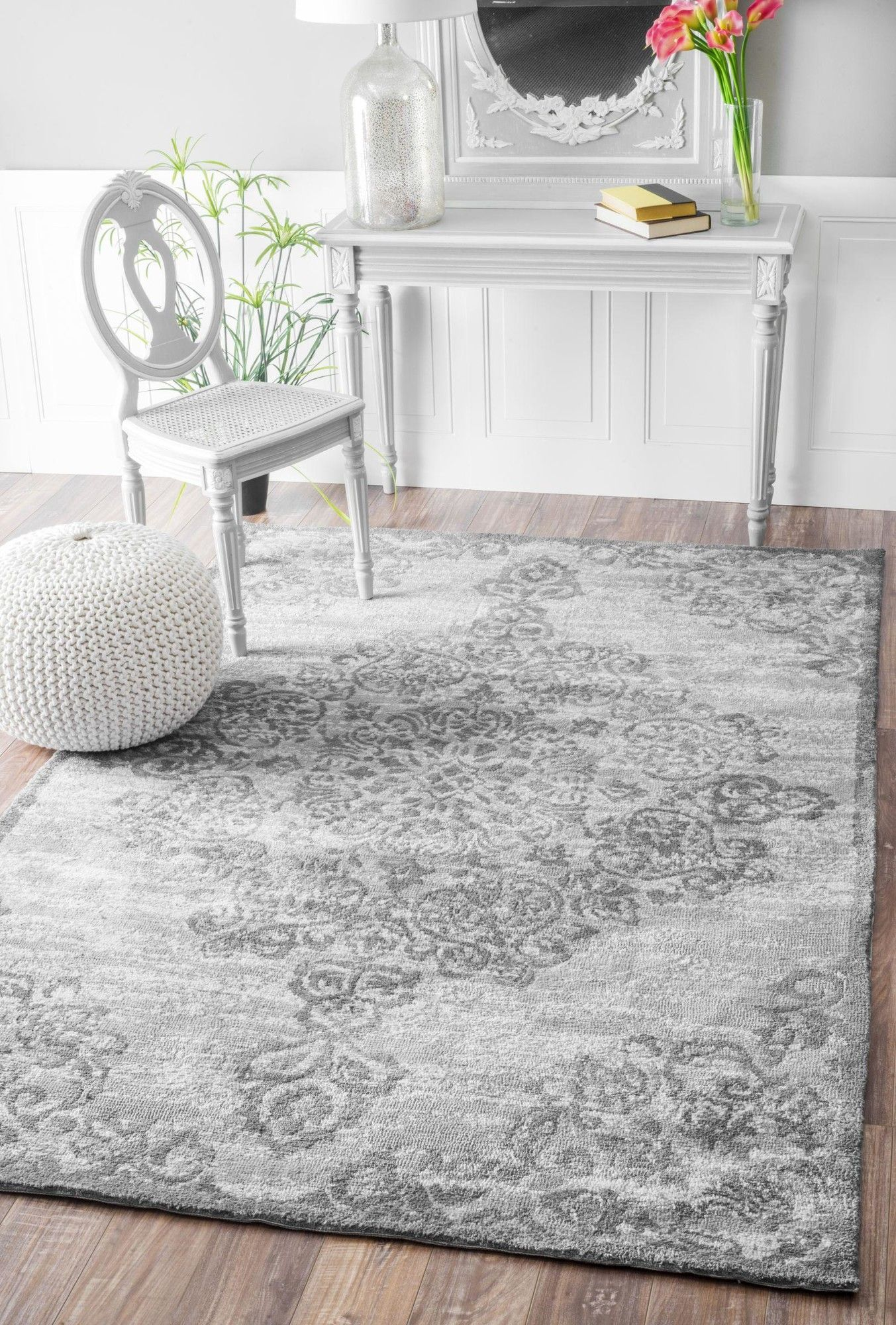 Melyne Floral Medallion Gray Area Rug