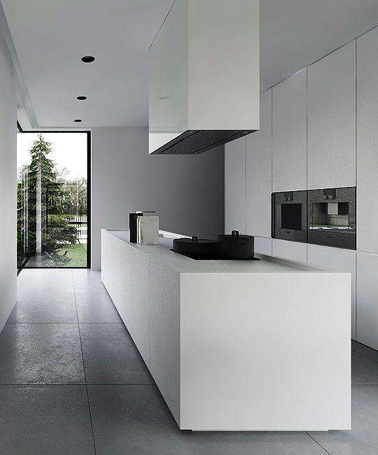 minimalistische wei e k che perfekt in szene gesetzt von bodenfliesen in betonoptik in leicht. Black Bedroom Furniture Sets. Home Design Ideas