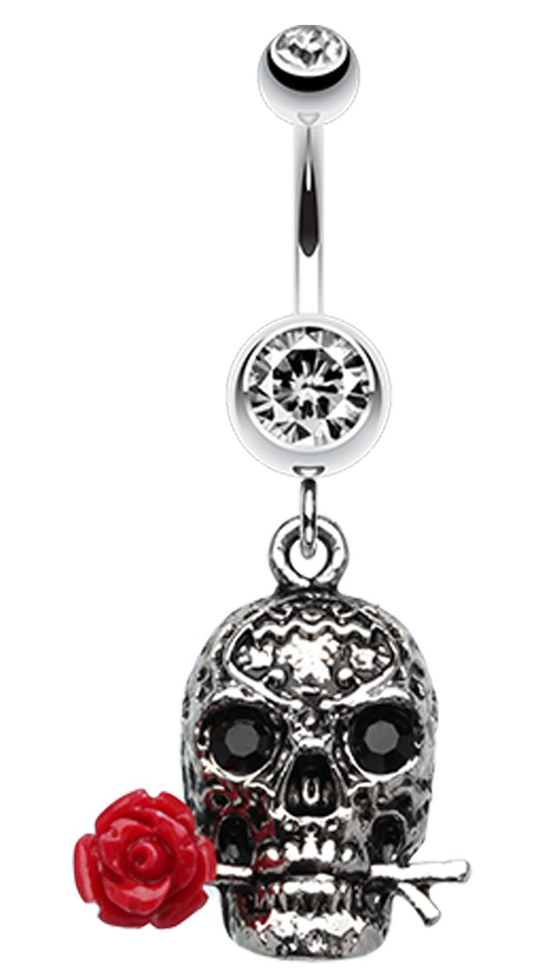 Elegant nose piercing  Skull Rose Beauty Belly Button Ring  Diamonds Rings u Shiny Things