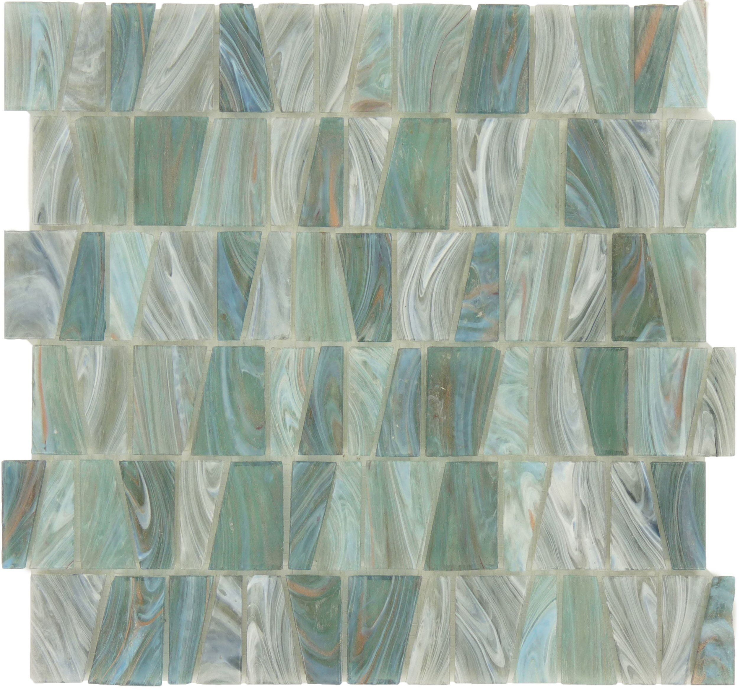 Aqua Green Stained Glass Trapezoid Tile