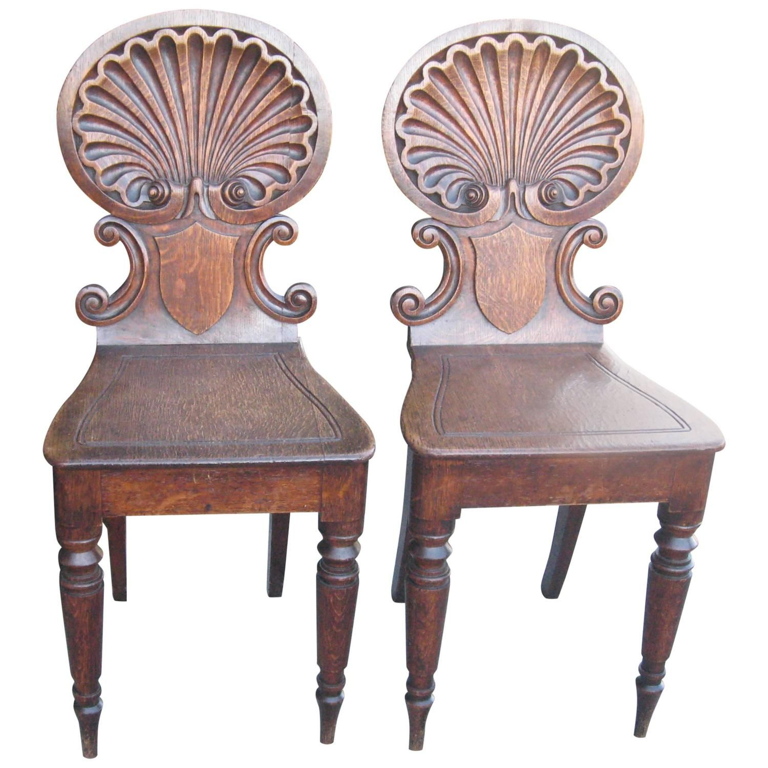 Pair of 19th Century English Oak Shell Back Hall Chairs