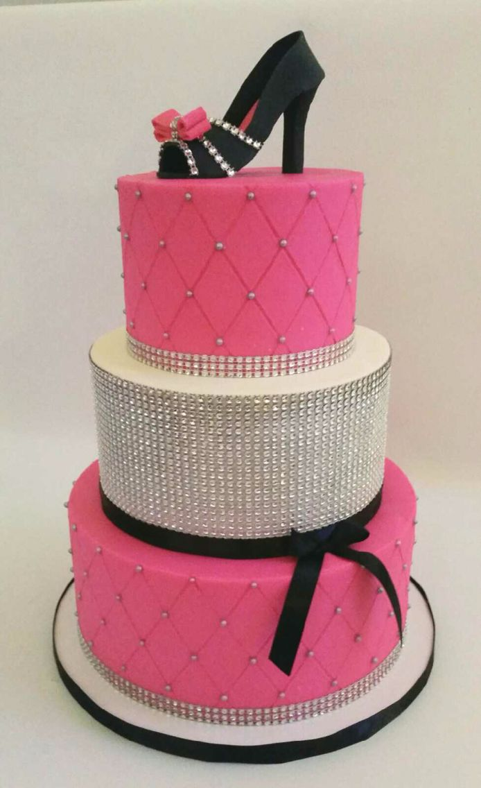 Bedazzled Hot Pink And Black Shoe Lover Cake By Your Hunny