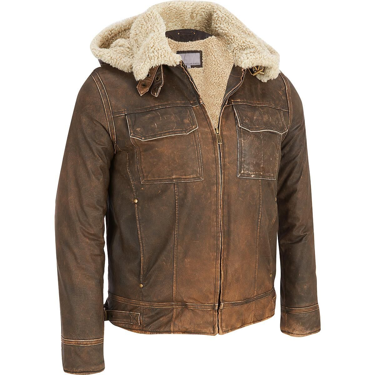 Wilsons Leather Vintage Leather Bomber Jacket w/ Faux-Shearling ...