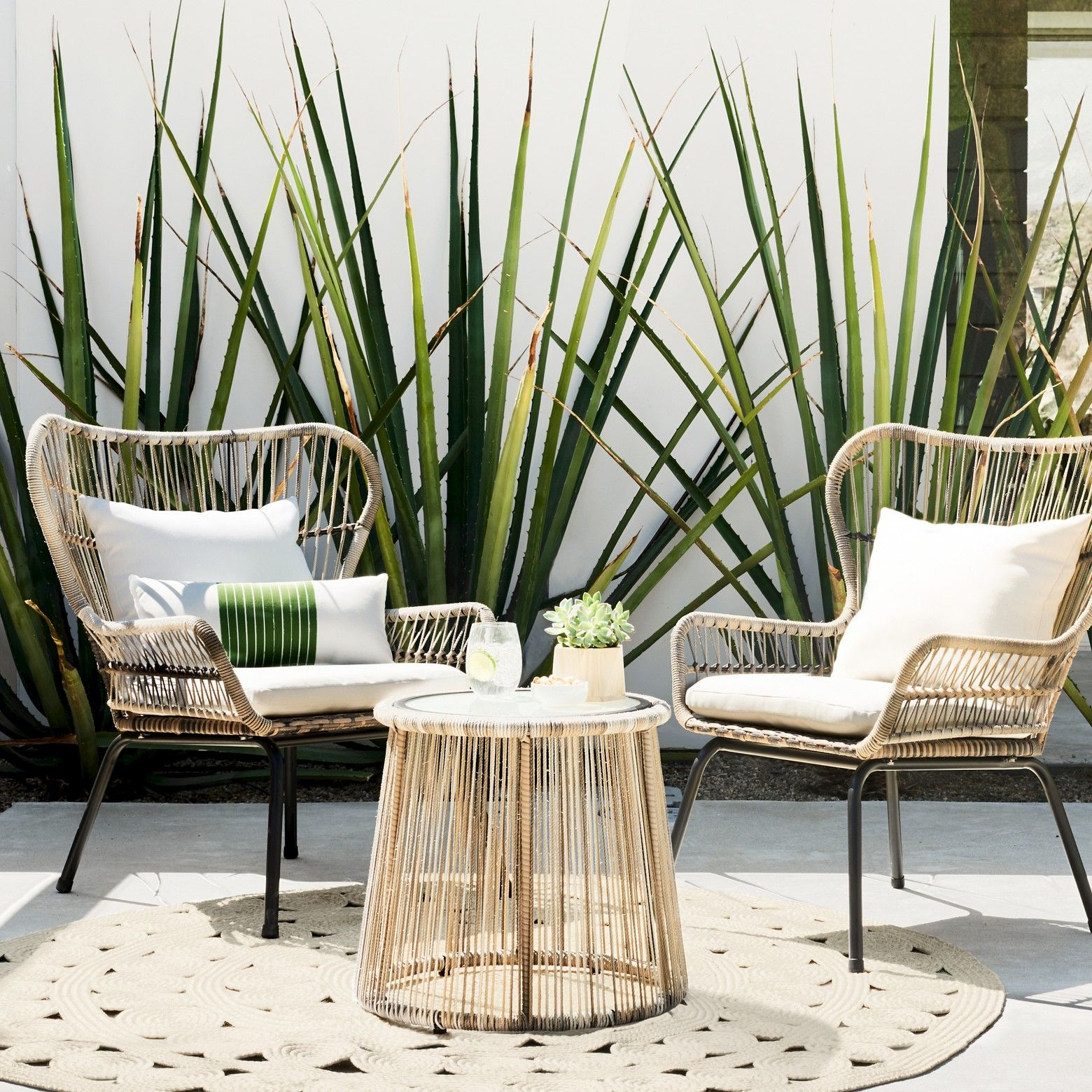 Latigo 3pc All Weather Wicker Outdoor Patio Chat Set Tan