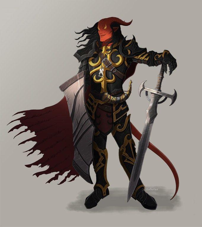 m Tiefling Paladin Plate Armor Cloak 2 Handed Sword DnD (287) | Tiefling paladin, Dungeons ...