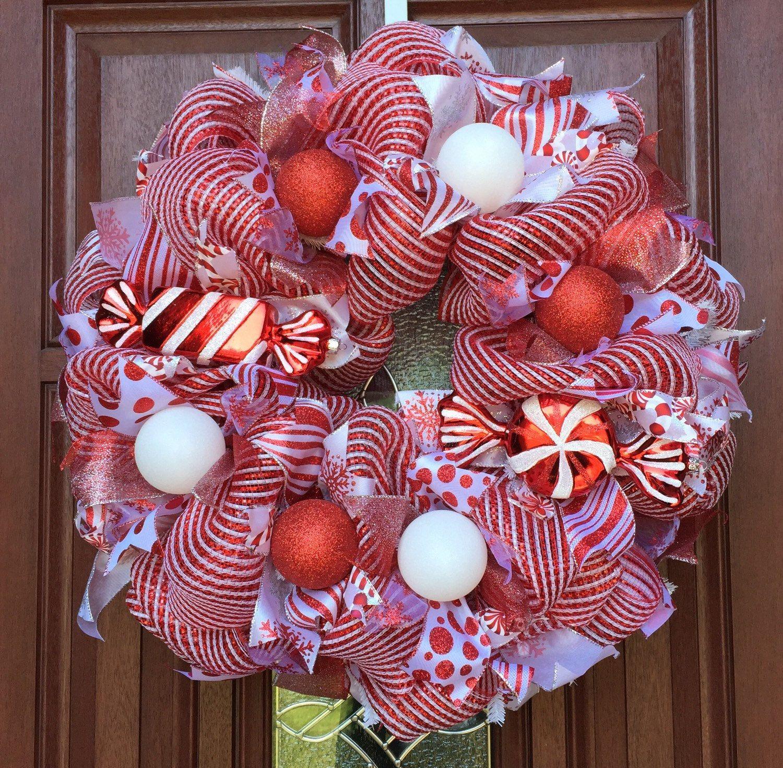 CLEARANCE SALE Deco Mesh Christmas Wreath peppermint xmas wreath