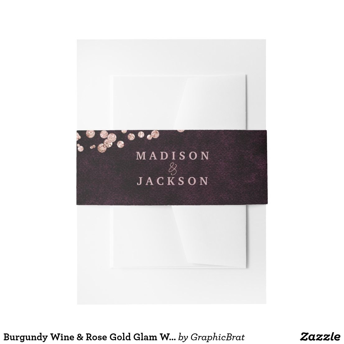 Burgundy Wine Rose Gold Glam Wedding Monogram Invitation Belly