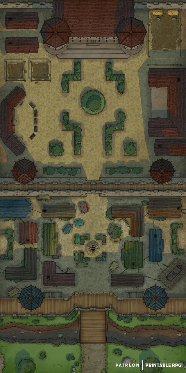 City Battle Map : battle, Battlemap][30x60][3500x7000px], Castle, Gates, [OC][Art], Roll20, Fantasy, World, Dungeon