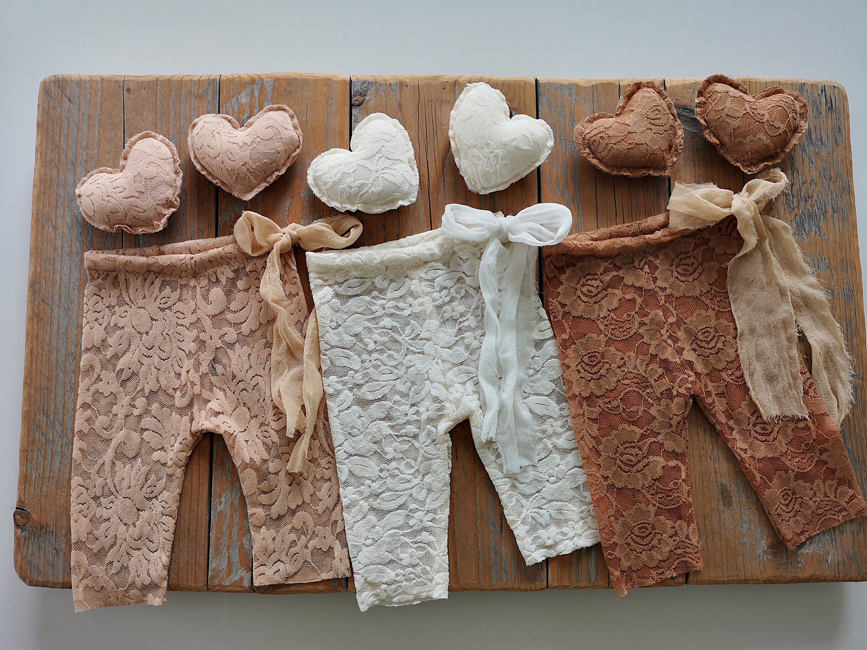 RTS Newborn Lace Pants Posing Hearts Newborn Girl Photo Prop Newborn Girl Pants Choose Color Newborn Girl Newborn Photography Props