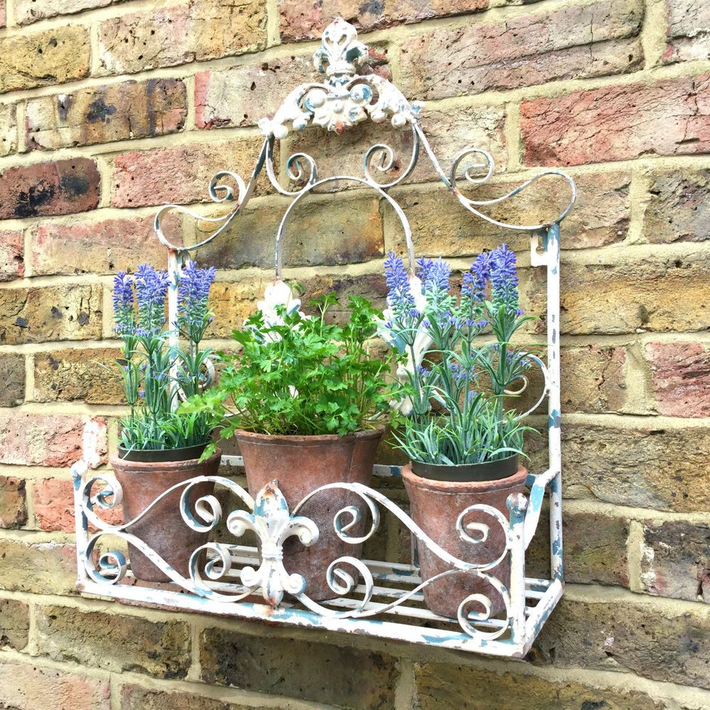 Antique French Vintage Style Metal Garden Wall Planter Pot Holder
