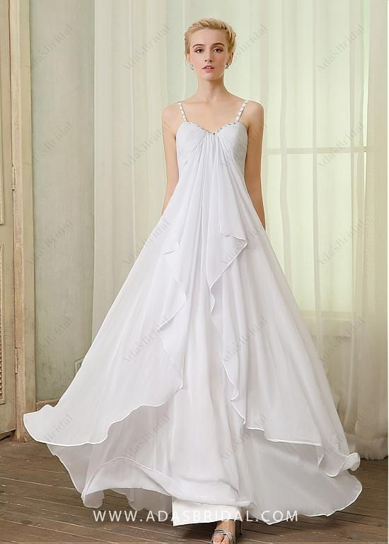3e5339b87df Buy discount Elegant Chiffon Spaghetti Straps Neckline A-line Wedding  Dresses With Rhinestones at Dressilyme.com