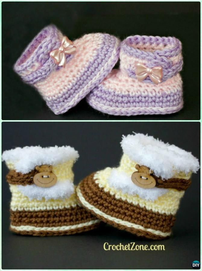 Crochet Baby Fuzzy Snow Boots Free Pattern-Crochet Ankle High Baby ...