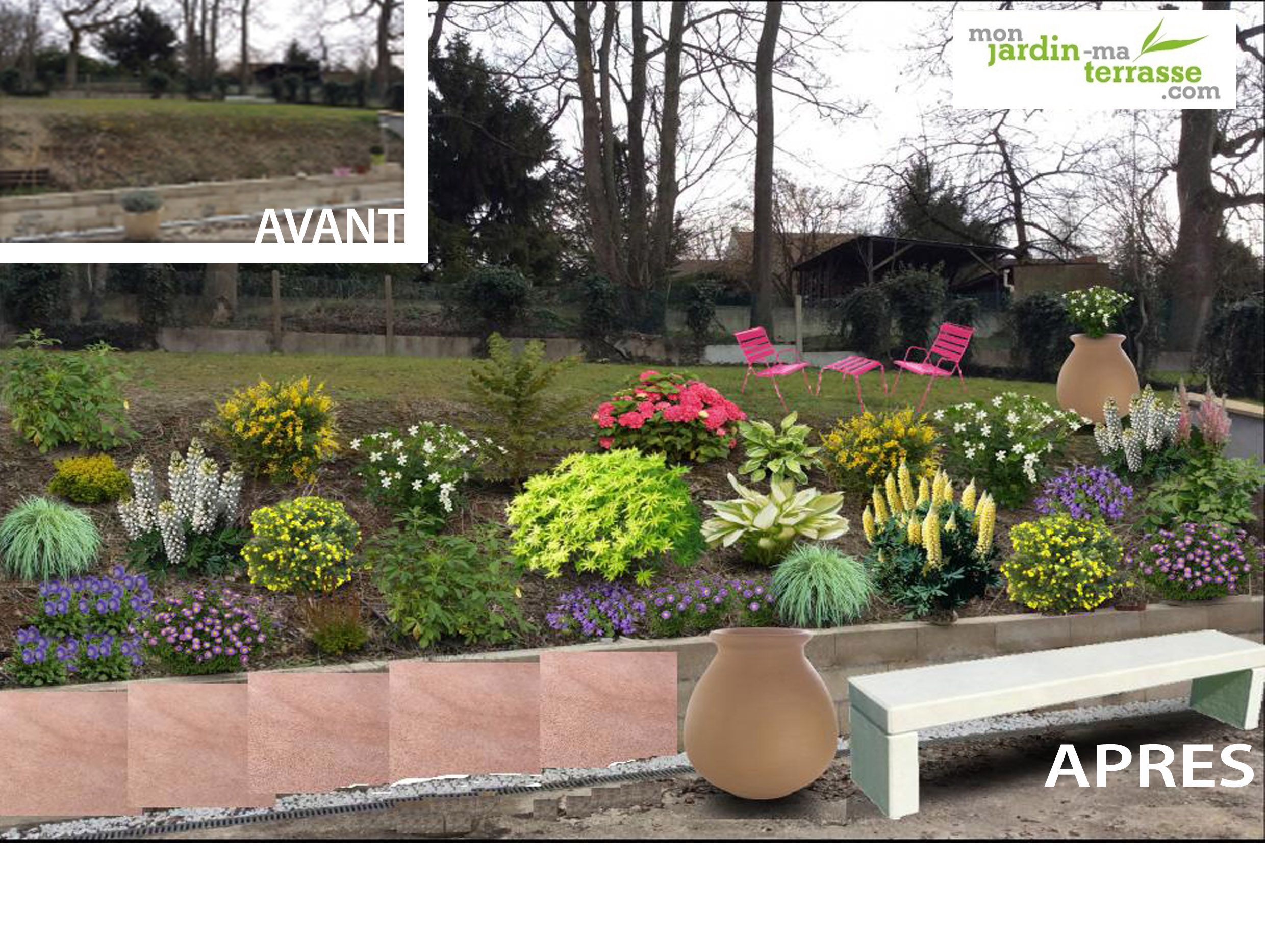 Photos de talus am nag s am nager un talus en pente l for Amenager son jardin en pente