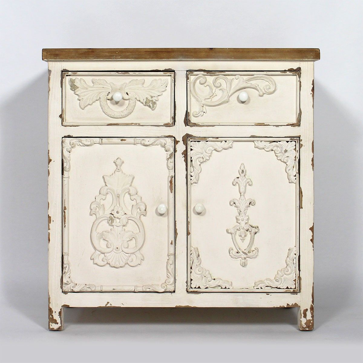 buffet ancien bastille blanc 2 portes 2 tiroirs. Black Bedroom Furniture Sets. Home Design Ideas