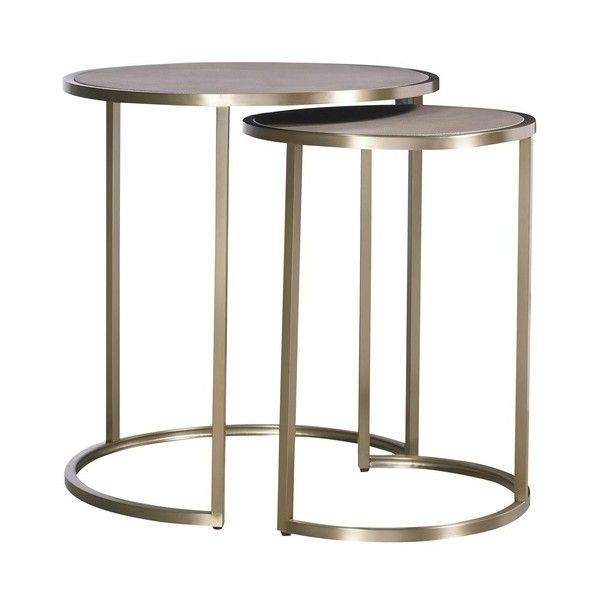 Catalina Brass Clad Round Nesting Side Tables ❤ liked on Polyvore