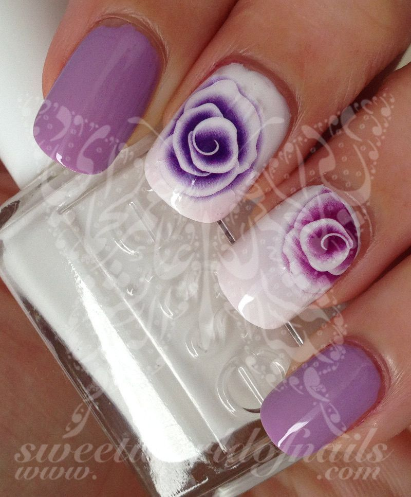 Purple Flowers Nail Art Water Decals Transfers Wraps Floral Nails Flower Nails Flower Nail Art