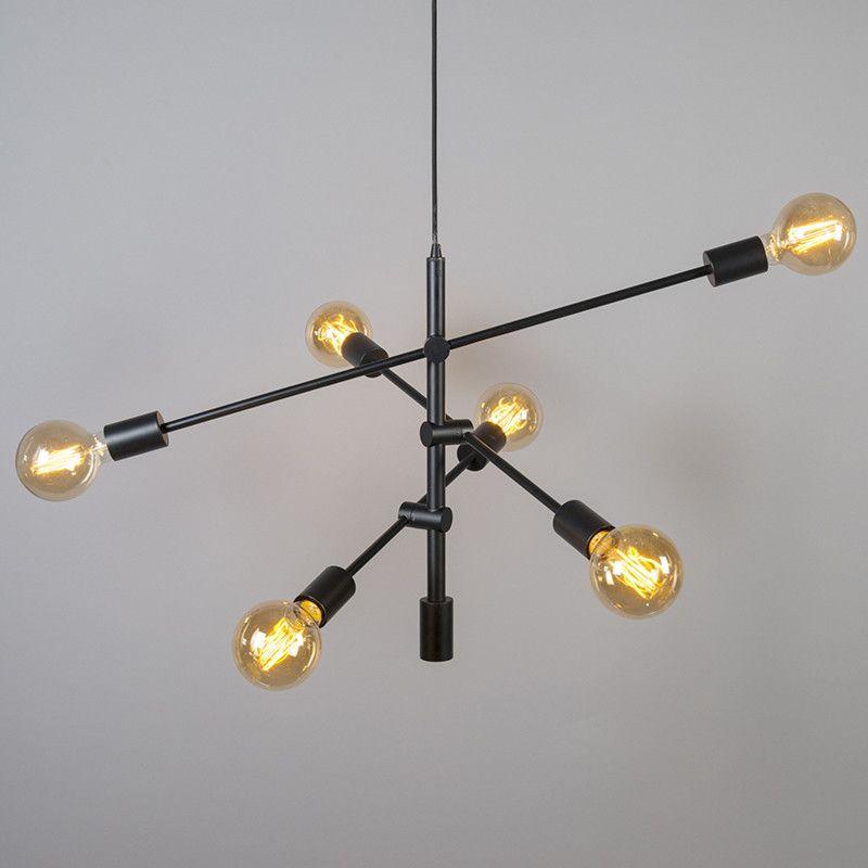 Lámpara colgante SYDNEY 6 negra DECO Salon