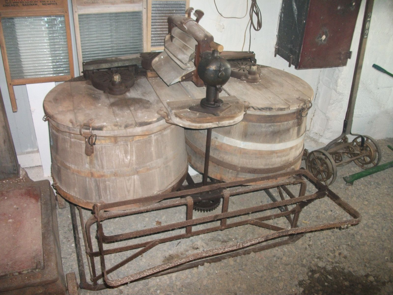 Antique Vintage Dexter Double Twin Wooden Wood Tub Ringer Washer Washing Machine Ebay Wood Tub Antique Washing Machine Vintage Washing Machine