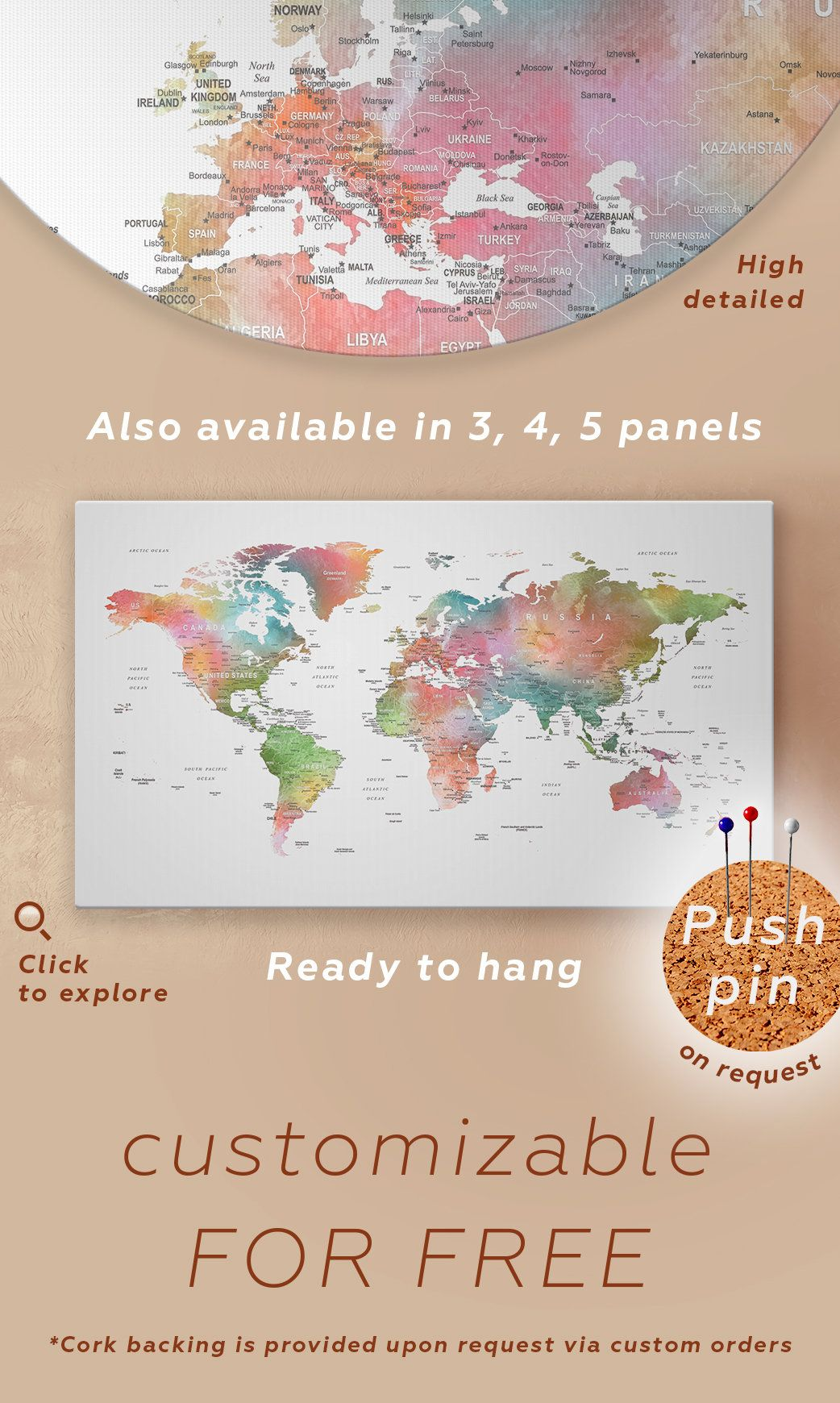 Watercolor World Map Push pin Canvas Detailed World Map