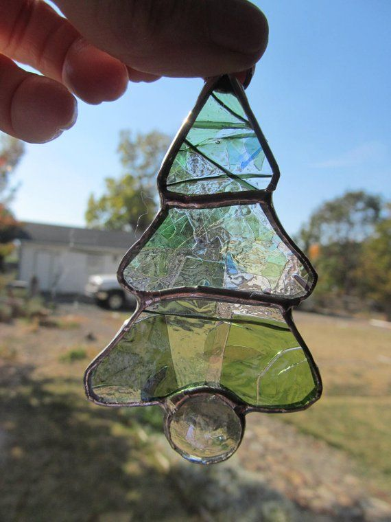 set of 3 christmas tree ornaments stained glass ornaments