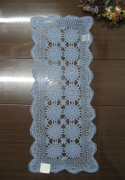 Crochet Lace Table Runner Scarf Rose Floral Basket Doily 18.5x23 ...
