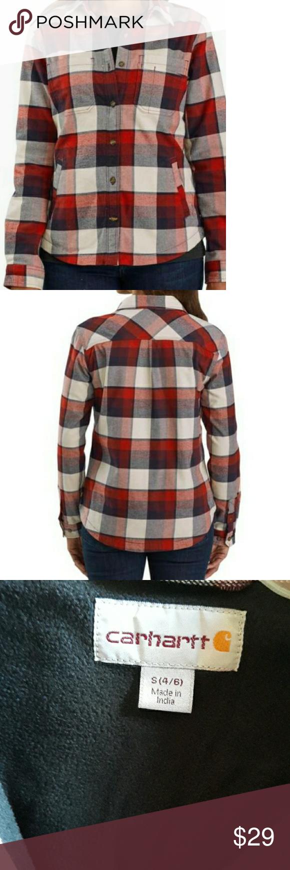 CARHARTT  WOMEN'S  SIZE S 4/6 RUGGED FEX HAMILTON CARTHARTT  WOMEN'S  SIZE S 4/6  RUGGED FEX HAMILTON  FLECEE LINEN SHIRT SHELL 97% COTTON 3%  ELASTANE (SPANDEX) Carhartt Tops Button Down Shirts #carharttwomen