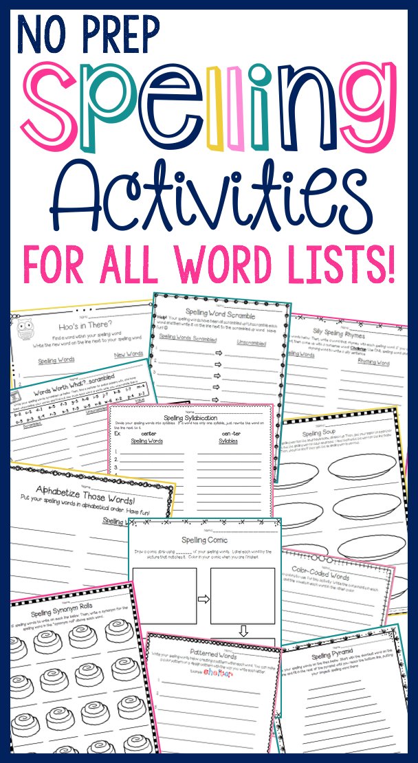 SPELLING ACTIVITIES - NO PREP - For ALL Word Lists (10, 15, 20 & 25 ...