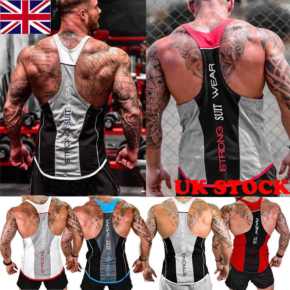 ec473851b02a7d UK STOCK NEW Men Gym Muscle Shirt Tank Top Bodybuilding Sport Fitness Vest  YY