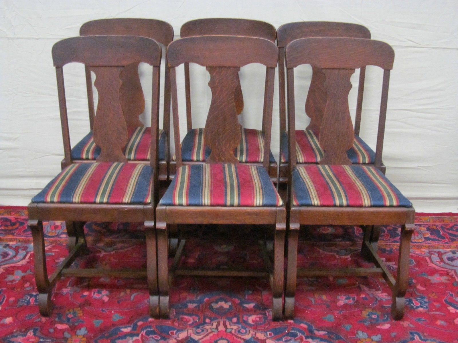 """Set of 6 Victorian Tiger Oak """"T"""" Back Dining Chairs"""