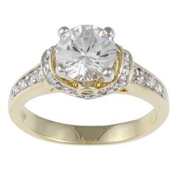 Kate Bissett Two-tone White Cubic Zirconia Engagement Ring $24