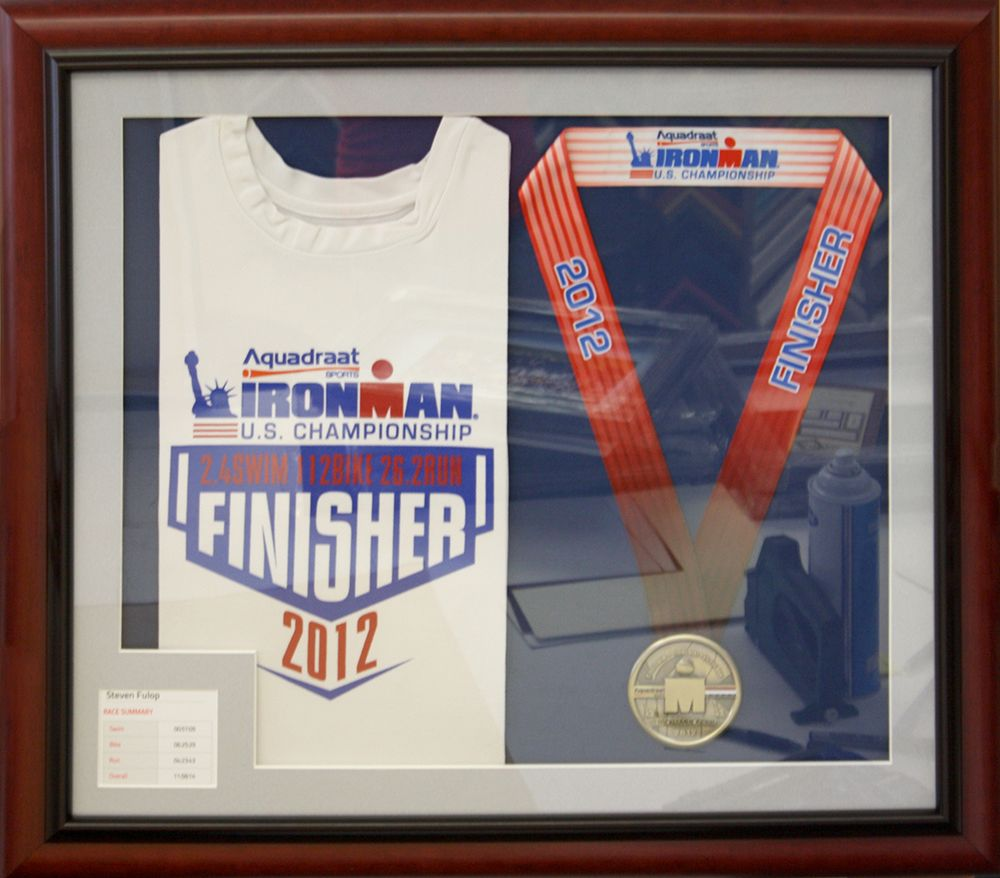 Ironman Marathon Race T Shirt And Medal Frame New Jersey Tattoo