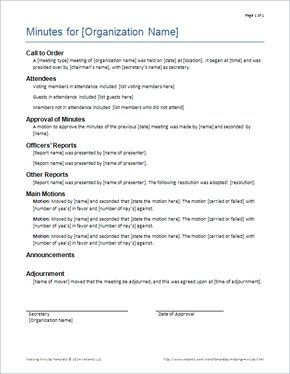 Download The Formal Meeting Minutes Template From Vertex42 Com