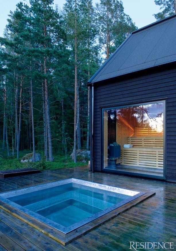 sauna glass fronted sauna cool view hot tub wood deck. Black Bedroom Furniture Sets. Home Design Ideas