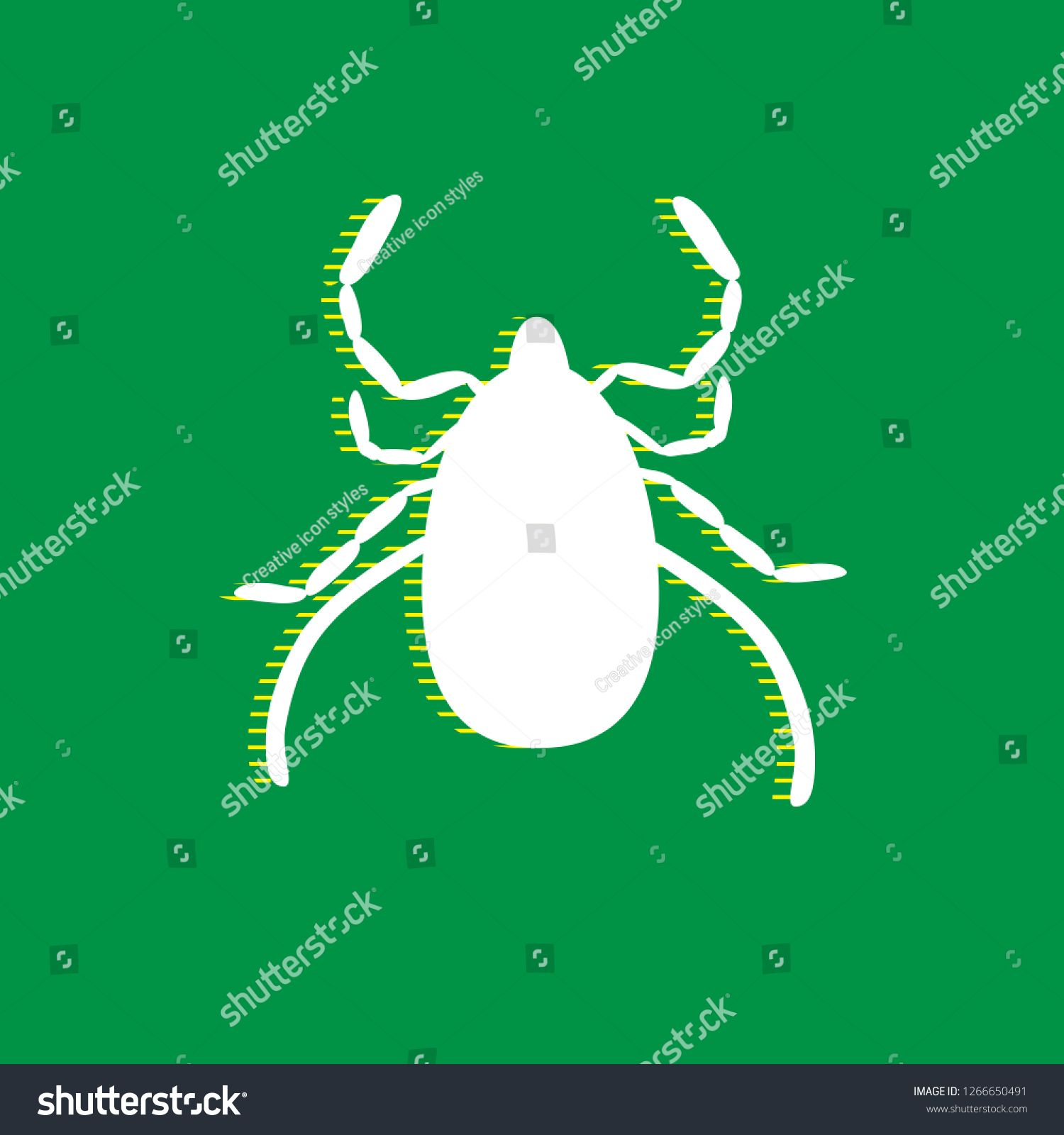 Dust mite sign illustration. Vector. White flat icon with