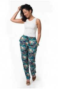 1f1ecf420 Calça pijama floral azul …   Look Primavera / Verão   Calça…