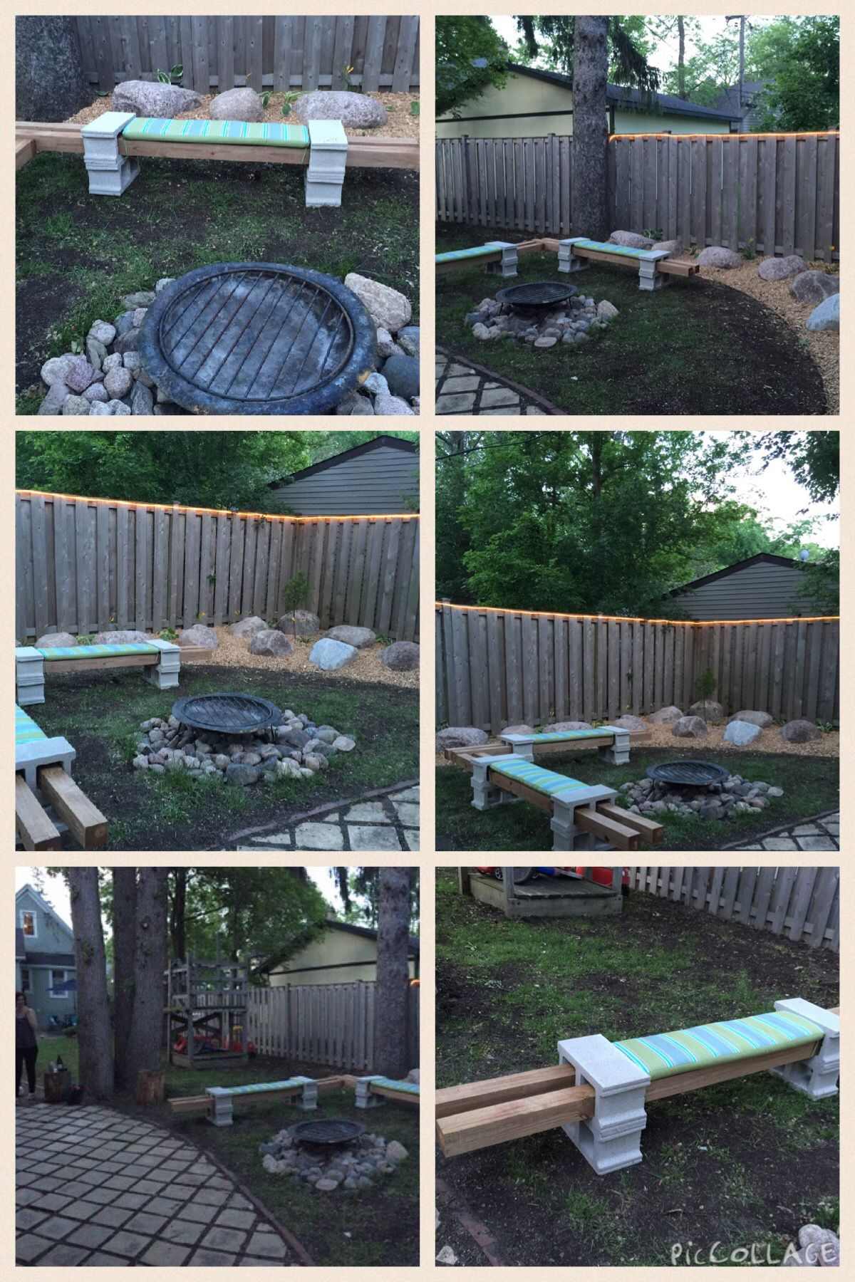 diy cinder block seating around a firepit with rope lighting around