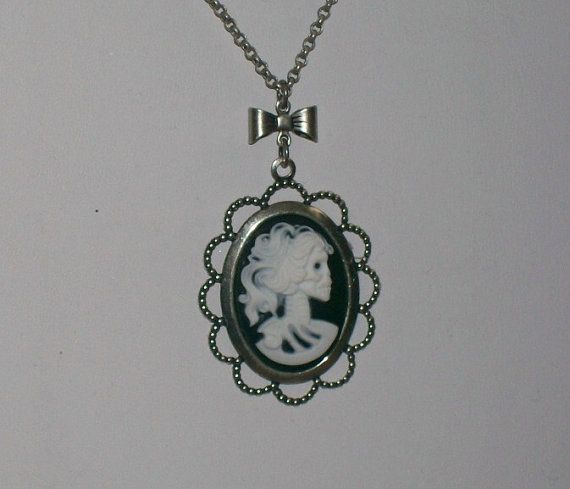 Gothic Lolita Skeleton Cameo Necklace Day of by ConnorInspiresAmy, $14.50