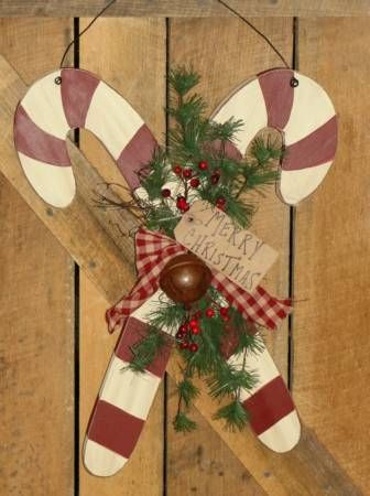 primitive wooden candy canes two colors available