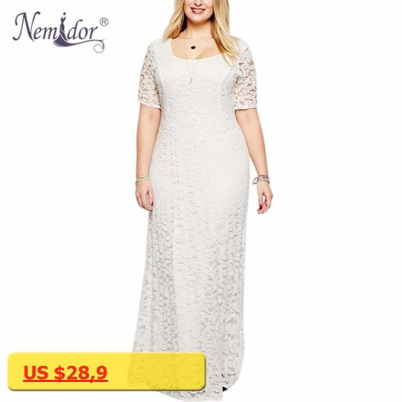 Nemidor Hot Sales Women Elegant Lace Party Dress Plus Size 7XL 8XL