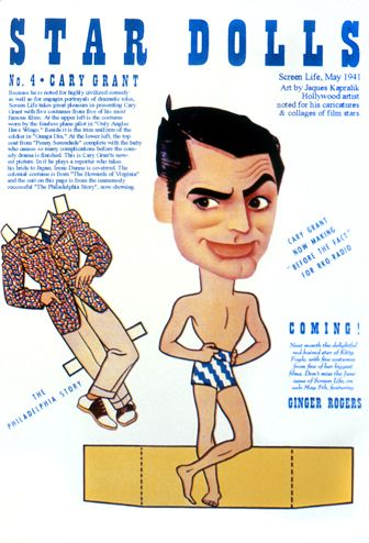 """Lovely collection of caricatures on Pierre Montiel's """"Legendary Cary Grant: Tall, Dark and Handsome"""" site"""