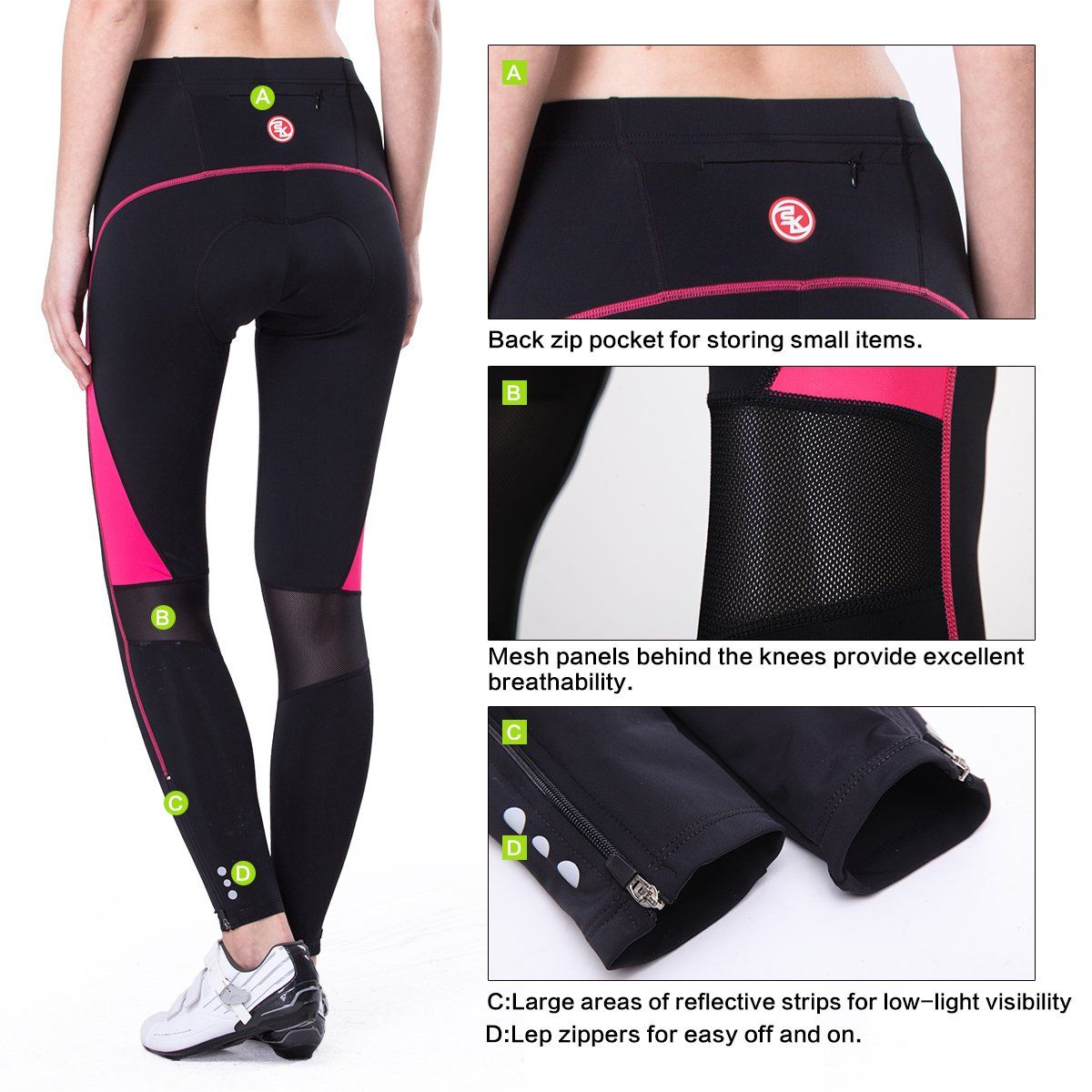 Santic Womens Cycling Bike Shorts 3D Padded Bicycle Capris Half Pants Breathable Tights