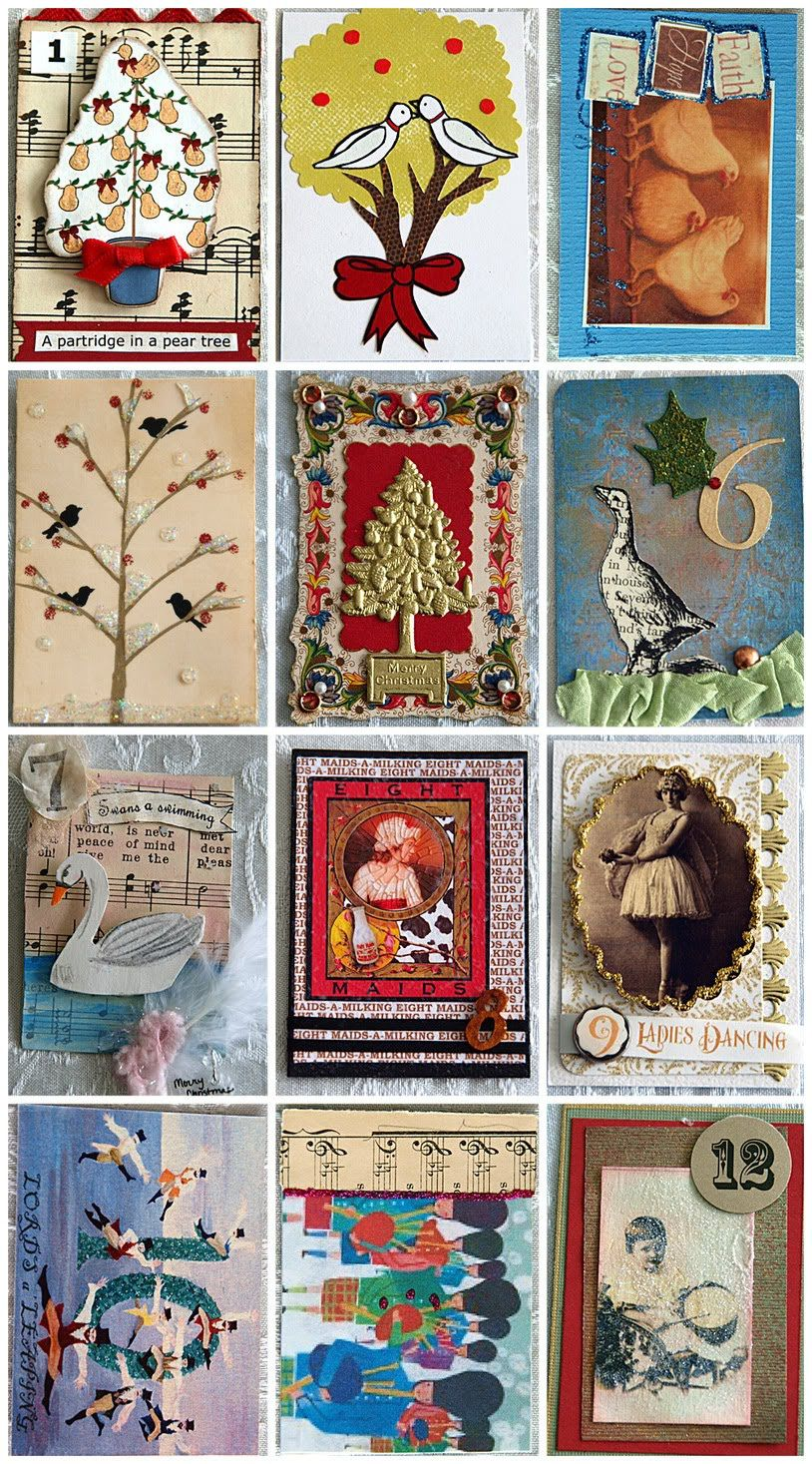 free vintage image and the 12 days of christmas atc swap