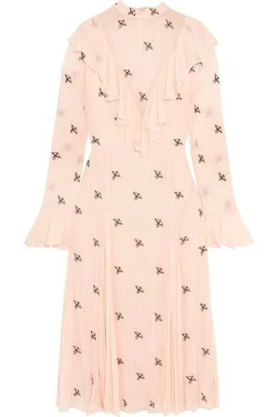 Starling Ruffled Embellished Georgette Dress - Pastel pink Temperley London Cheap Top Quality From China Sale Online iBcID4Z
