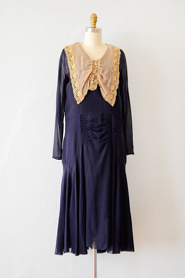 Vintage 1920s Navy Chiffon Lace Collar Dress Upper Echelons Dress 298 00 Adored Vintage Vintage Cl 1920s Outfits 1920s Women S Clothing 1920s Fashion