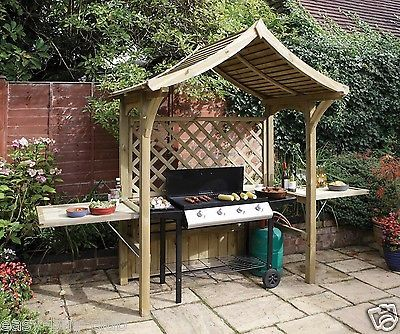 garden bbq shelter arbour seat outdoor patio bench grill barbecue