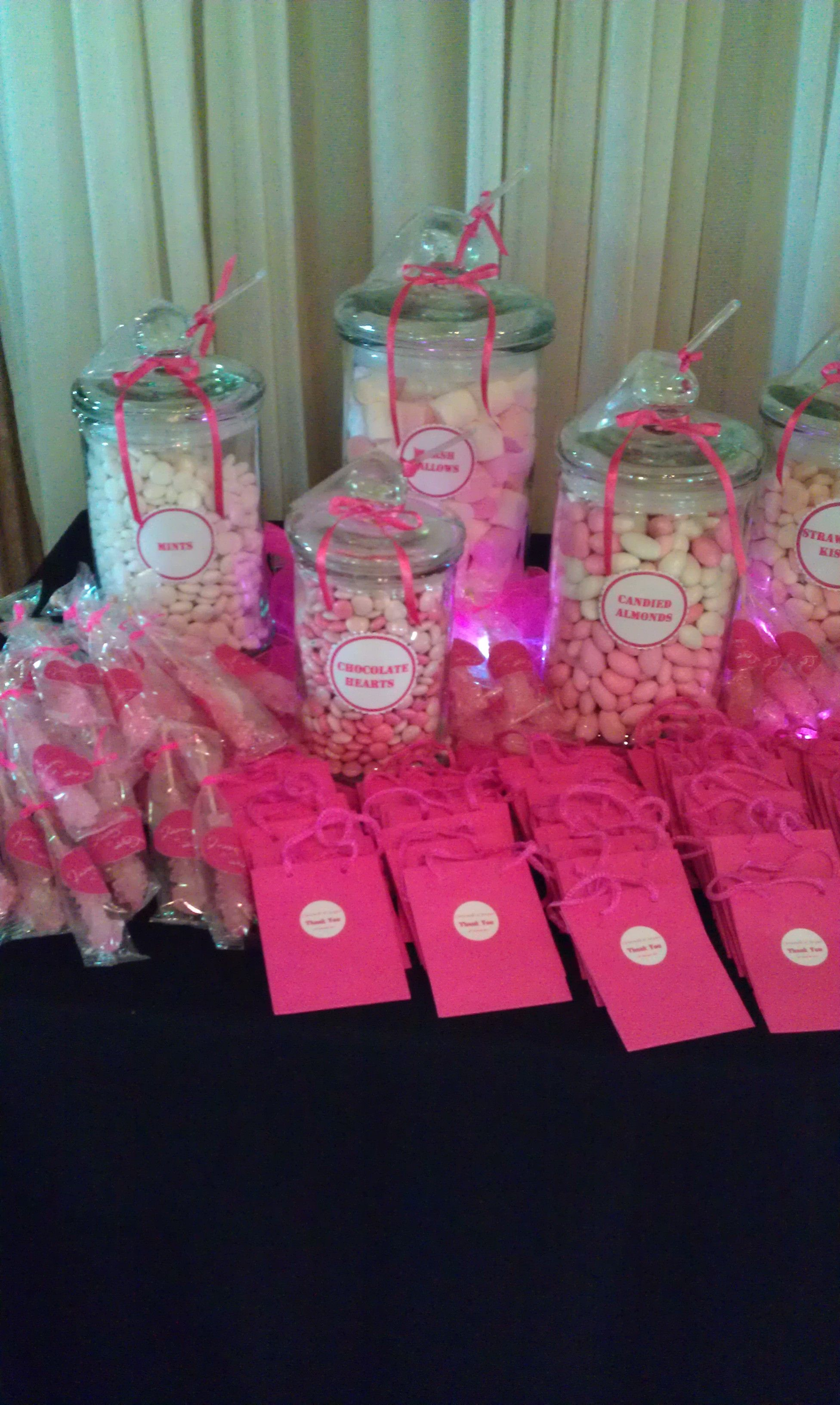 Sweet amp sparkly wedding candy buffet pictures to pin on pinterest - Electric Pink Candy Buffet