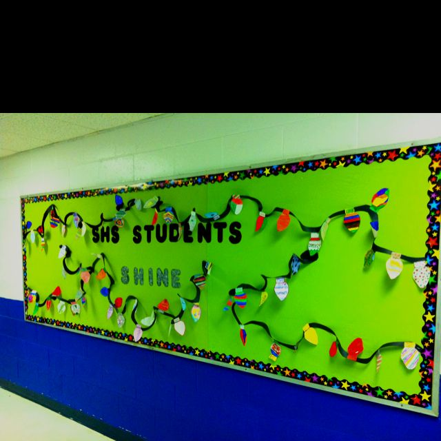 Christmas bulletin board idea draw a template for a light for Ways to decorate a bulletin board