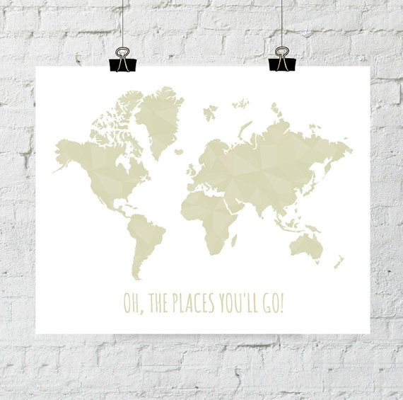 Oh The Places You ll Go Print Geometric World Map Printable Art