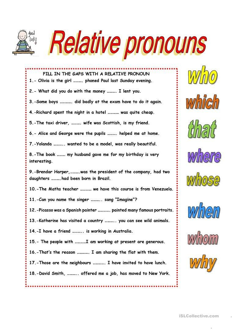 Relative Pronouns Worksheet Grade 4 Relative Clauses English Esl Worksheets For Distance In 2020 Relative Pronouns Pronoun Worksheets Worksheets