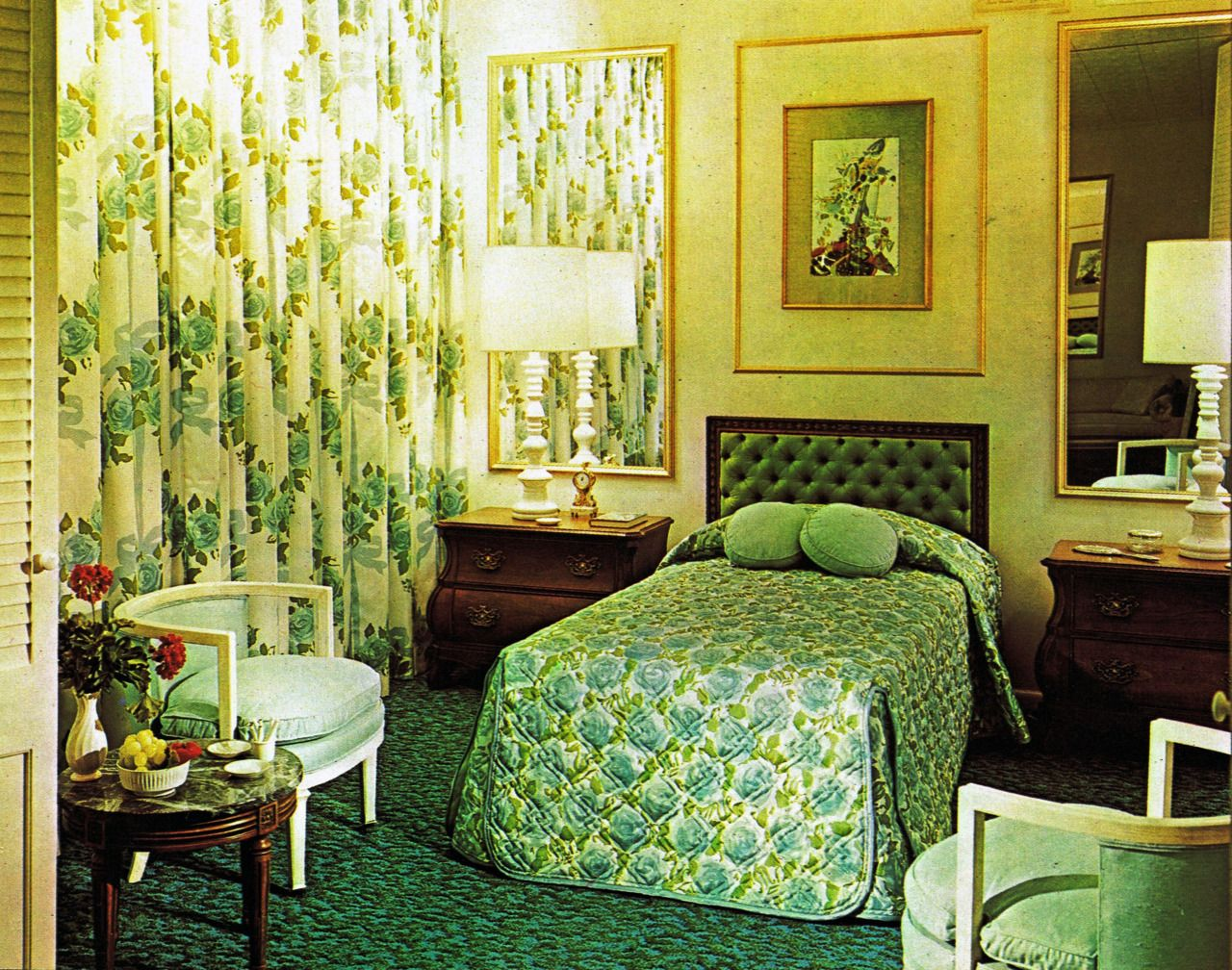 green bedroom from the 1960s midcentury and vintage style